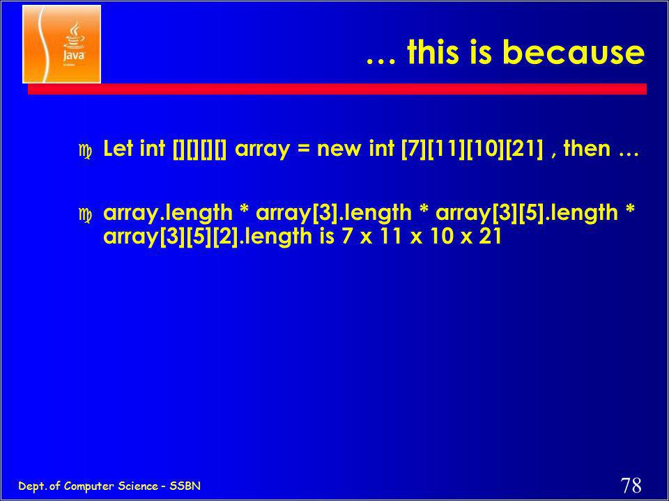 … this is because Let int [][][][] array = new int [7][11][10][21] , then …